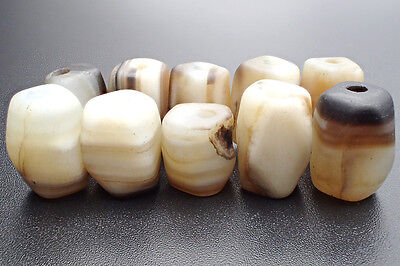 Lot 10 Old Natural Hand Carved Agate Facet Bead Multilayer Afghan Handmade #4093