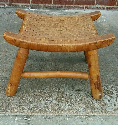 Antique Vintage Primitive Woven Curved Wood Stool Hickory? Cane? Heavy