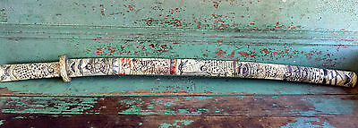 Japanese Bone Scabbard Sword Carved Scrimshaw Knife With sheath Carved People