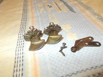 2 antique Brass Drawer Pulls w/ screws Ornate Floral background KL0784