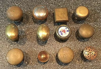Large Lot of 12 Pieces Antique Drawer Pull Handles Porcelain, Brass, Cast Iron