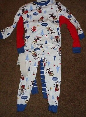 New w Tag 4 pc Carters Interchangeable Skiing Monkeys Pajamas Size 2T