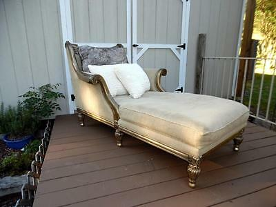 VTG Metallic Finish Decorative French Style Chaise Lounge Feather/Poly Cushion