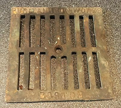 Vintage Brass Puritan Iron Works Floor Grate Drain Made In USA Boston