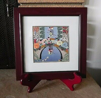 "Vintage ASIAN SILK EMBROIDERY ART - RIVER RAFTING 9.5"" x 9.5"" Framed"