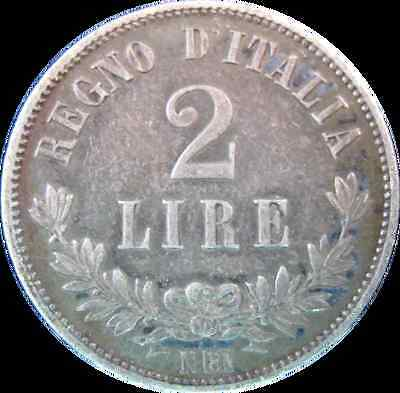 G2152 - 1863 - Italy - 2 Lire Silver Coin - Ungraded - Nr