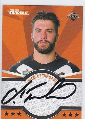 2016 TRADERS Signed Face Of The Game Card - James Tedesco - Wests Tigers