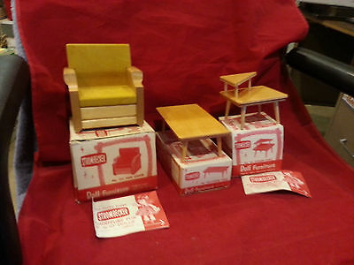 Lot of Strombecker doll furniture 3 pieces.... In Original Boxes