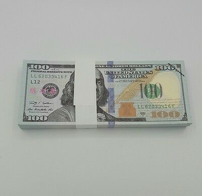 100pcs USD $100 Training Banknotes Play Money Fake Money Play Bills Paper Money