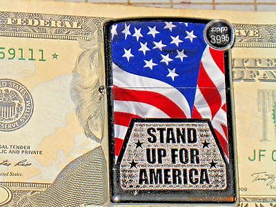 A New ZIPPO Windproof Flame Lighter USA Stand Up for America US Flag HP Chrome