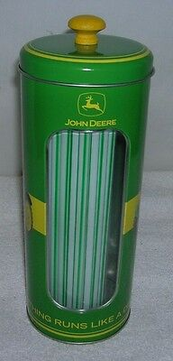 New John Deere Collectible Tin Straw Dispenser With Straws
