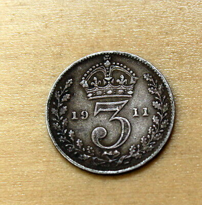 1911 Great Britain 3 Pence Silver