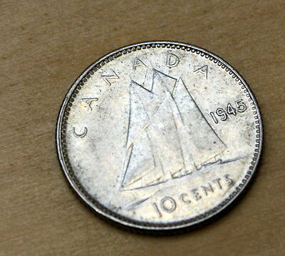 1945 Canada 10 Cents Silver