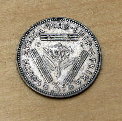 1952 South Africa 3 Pence Silver