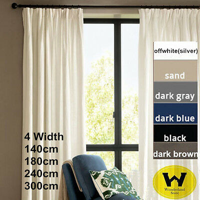 100% Blockout Panel Pure Fabric  Pinch Pleat Curtain Blackout Room Darkening