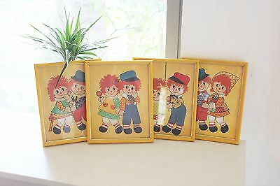 4 Vintage Wooden Flamed Raggedy Ann and Andy Print Pictures Kids Baby