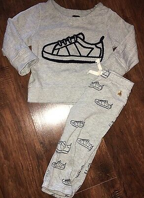 Baby Gap Boys 2 Piece Gray Sneakers Outfit Size 18-24 Months Adorable!