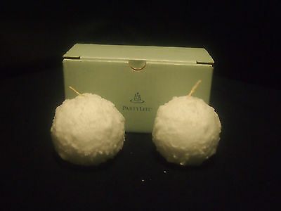 "Partylite Snowball Pair ~ 3"" Candles  ~ Q3510 ~ New In Box ~ Made In Usa"