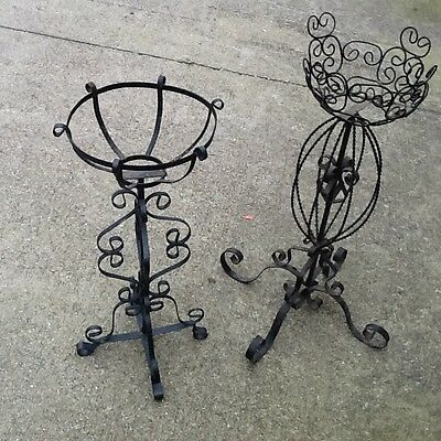 Pair Vintage Wrought Iron Plant Stands