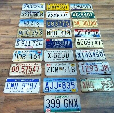 Set of All 50 STATES License Plates - Free Shipping