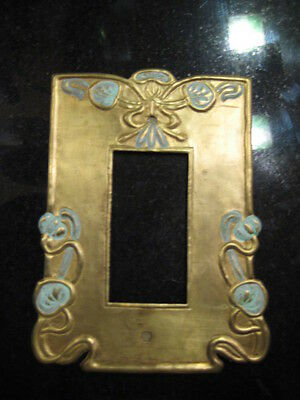 New made Art Nouveau Arts and crafts light switch outlet plate brass