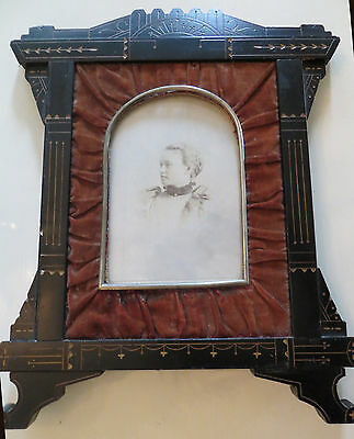 Antique EASTLAKE EBONY Carved VICTORIAN VELVET Picture FRAME w/Photo AESTHETIC