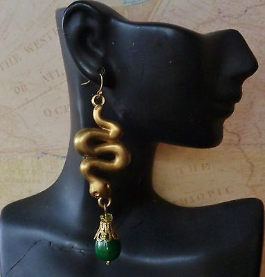 Long Snake Earrings W/ Green Agate Drops
