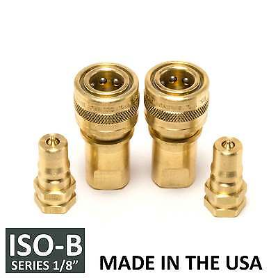 """2 Sets 1/8"""" ISO-B Hydraulic Hose Quick Disconnect Coupler Brass - (ISO 7241-1 B)"""