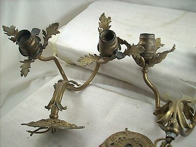 Pair Antique Lamp Fixtures Wall Mount Parts Or Project Heavy Metal