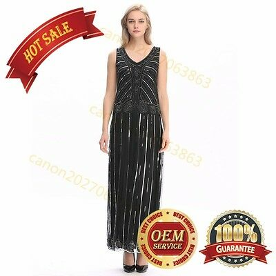 1920's Vintage Art Deco Wedding Long Dresses Gatsby 20s Costume Prom Style Dress