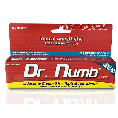 30g Dr Numb 5% Lidocaine Skin Numbing  Removal Waxing Piercing Tattoo Cream