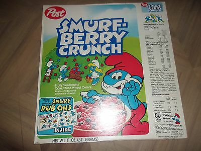 Post Smurf Berry Crunch Cereal Box Rare Rub On Smurfette Papa General Foods 1985