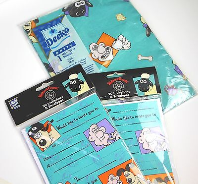 Wallace and Gromit party invitations and tablecloth - new!