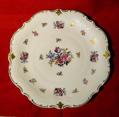 REICHENBACH SERVING PLATTER FLORAL DESIGN with GOLD TRIM MADE IN GDR
