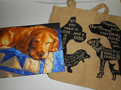 DOG LOT- Paint By Number Golden Retriever Painting & Linen Shopper Bag w/ Dogs
