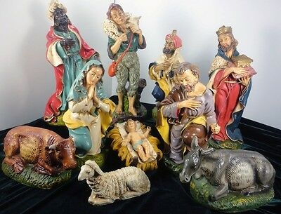 """12"""" Scale Nativity Italy 10 Pieces Large Paper Mache Vntg NOEL DECORATIONS"""