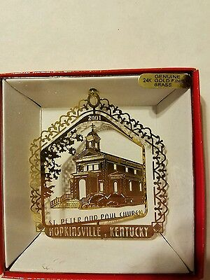 St Peter & Paul Church Hopkinsville  Kentucky Brass Christmas Ornament