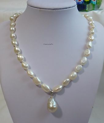 Silver Genuine baroque freshwater pearl 8-9mm necklace+13-14mm pendant L45cm