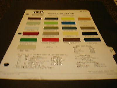1971 Ford Paint Chip Page from United Technologies Mustang Maverick Pinto T-Bird