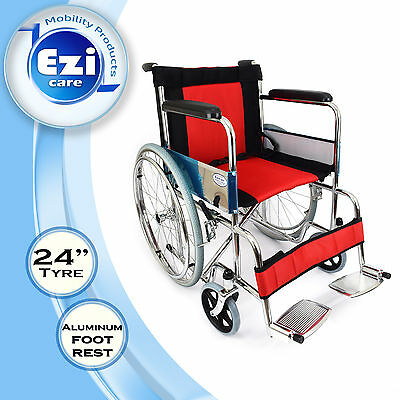 Red & Black Oxford fabric Folding Wheelchair Ezi-Care Age Care Mobility Product