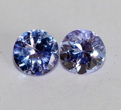 Certified Natural Tanzanite 4.5 mm Round Cut Pair 0.66 Cts Blue Loose Gemstones