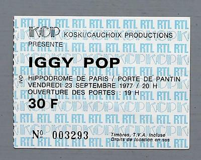 IGGY POP - rare original Hippodrome de Paris 1977 concert ticket