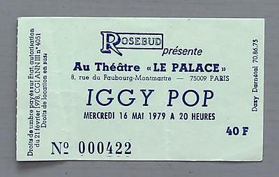 IGGY POP - rare original Paris, France 1979 concert ticket