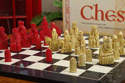 The Red Isle of Lewis Antiqued Chess Pieces