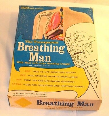 RARE 1964 Educational Products The Transparent Breathing Man Anatomy Model Kit!