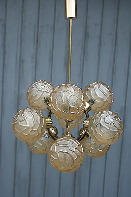 Rare Atomic SPUTNIK 9 globes amber glass Mid century 60's Chandelier lamp