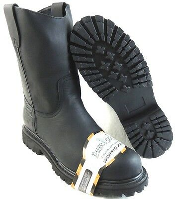 Men's Steel Toe Work Boots Pull On Safety Genuine Black Leather Oil Resistant