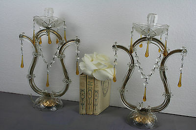 PAIR exclusive Venetian table lamps Glass With amber Drops murano art 1960's