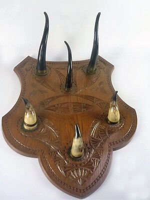 Special Hunting Taxidermy Wood oak wall carved coat rack hunter cabin 1950