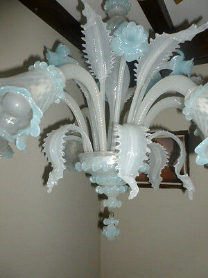 Turquoise Blue Venetian Murano hand blown glass chandelier mid-century 6 arms